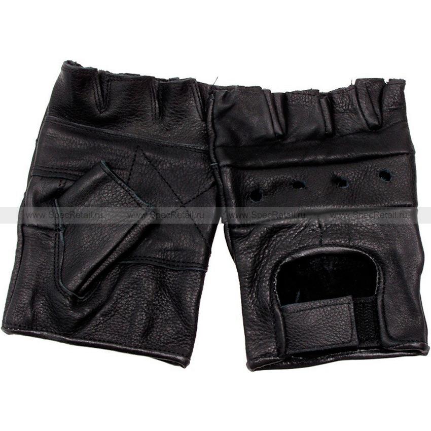 Кожаные перчатки MFH, беспалые (Black)