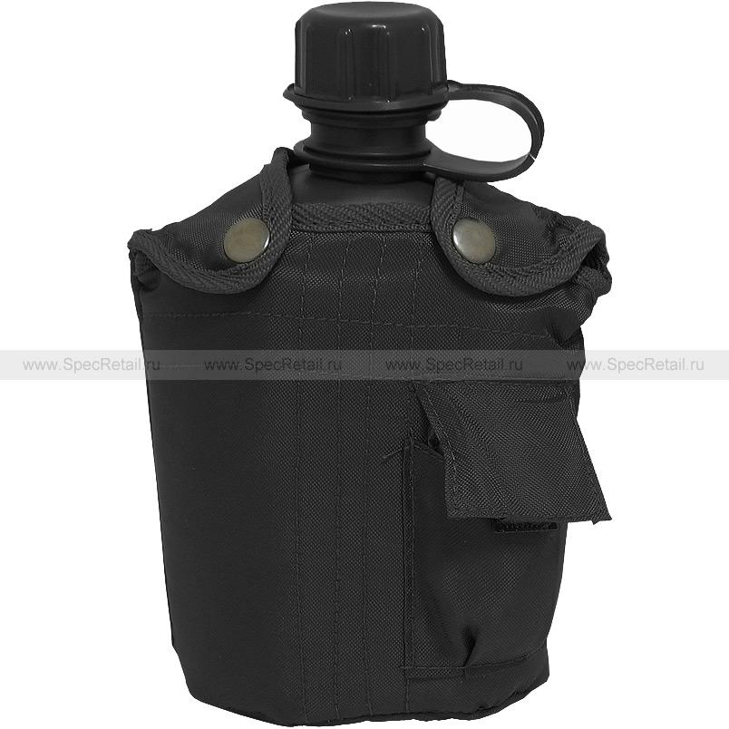 Пластиковая фляга с чехлом, 1 литр (Black)