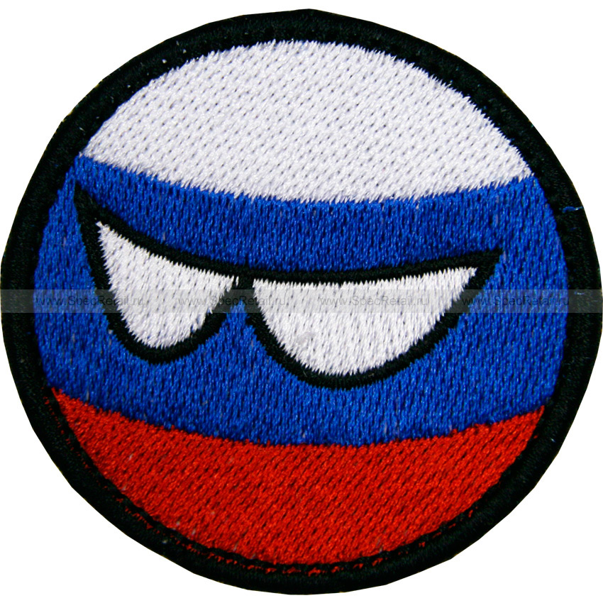 "Шеврон текстильный ""Countryball Россия"", диаметр 5.5 см"