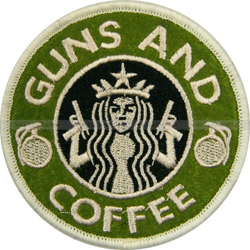 """Шеврон текстильный """"Guns and coffee"""", олива, 8.1x8.1 см"""