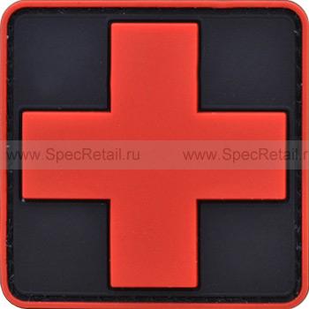 """Шеврон ПВХ """"Медицинский крест"""", тёмный, 5.8x5.8 см"""