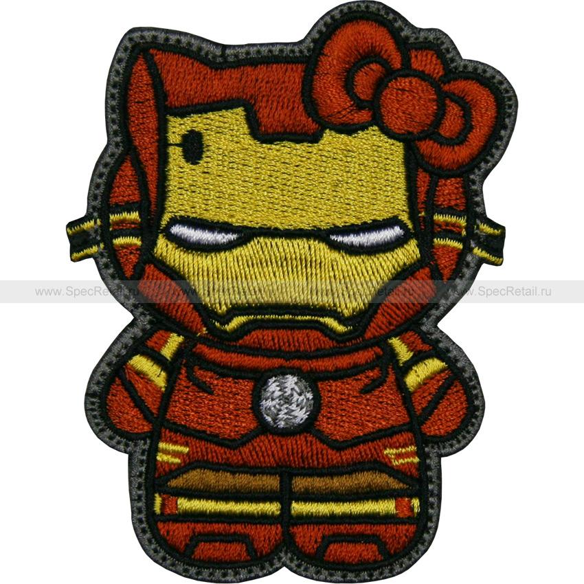 """Шеврон текстильный """"Hello Kitty. Железный человек"""", 6.8 x 8.9 см"""