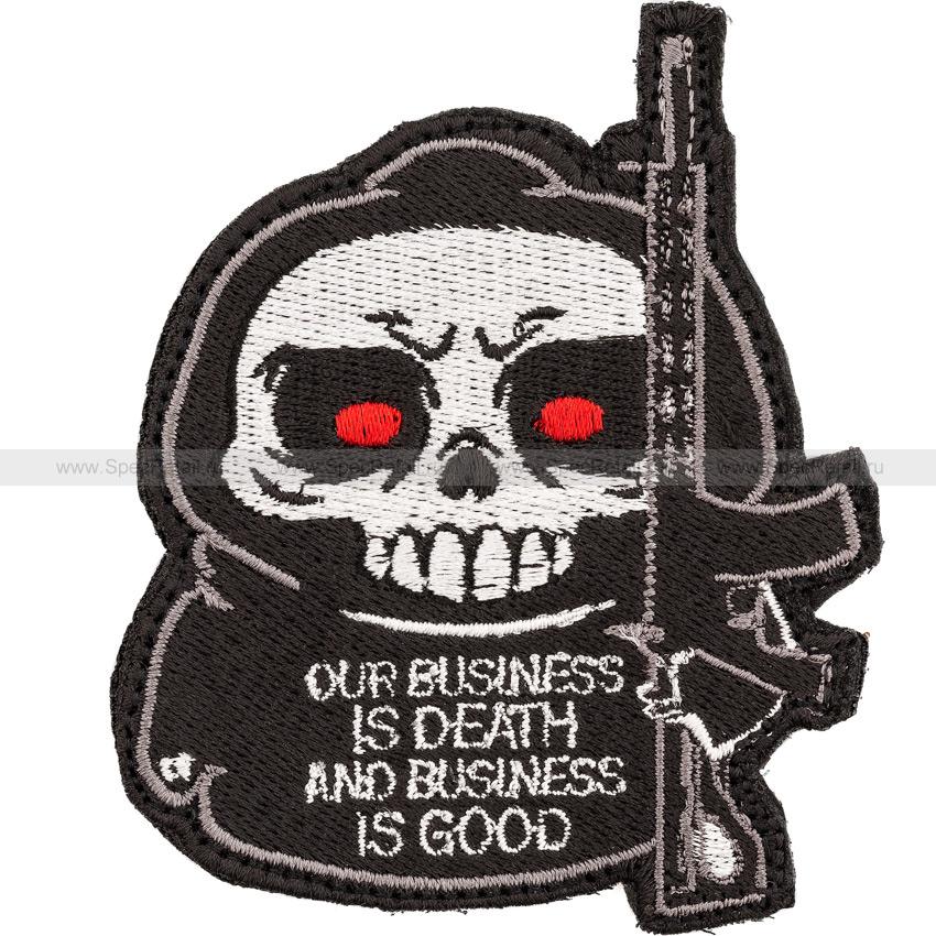 "Шеврон текстильный ""Our business is death..."", 7.4 x 9 см"