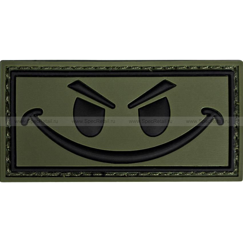 "Шеврон ПВХ ""Smile"", олива, 6 x 3 см"