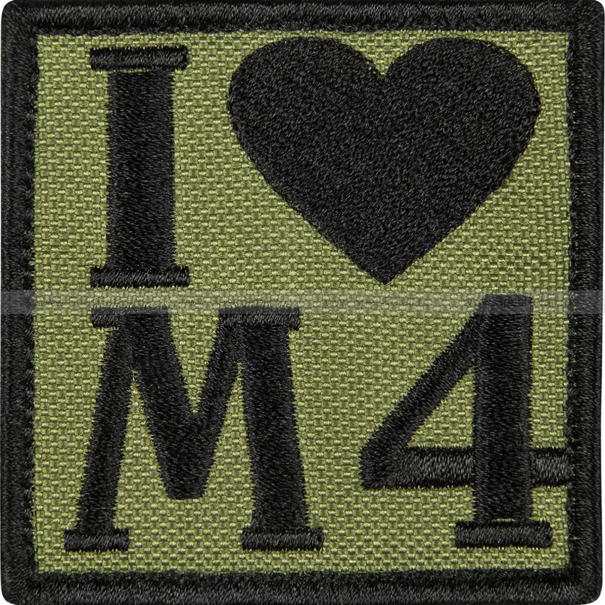 "Шеврон текстильный ""I love M4"", олива, 6x6 см"