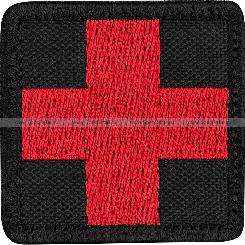 """Шеврон текстильный """"Медицинский крест"""", черный, 5x5 см"""