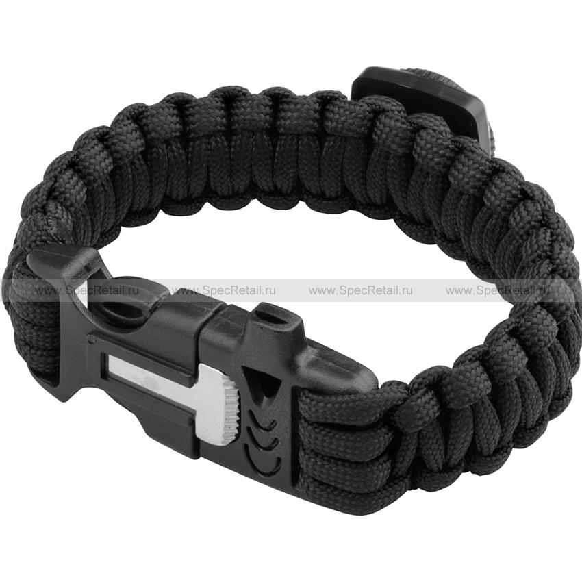 Паракордовый браслет (компас, свисток, огниво) (Black)