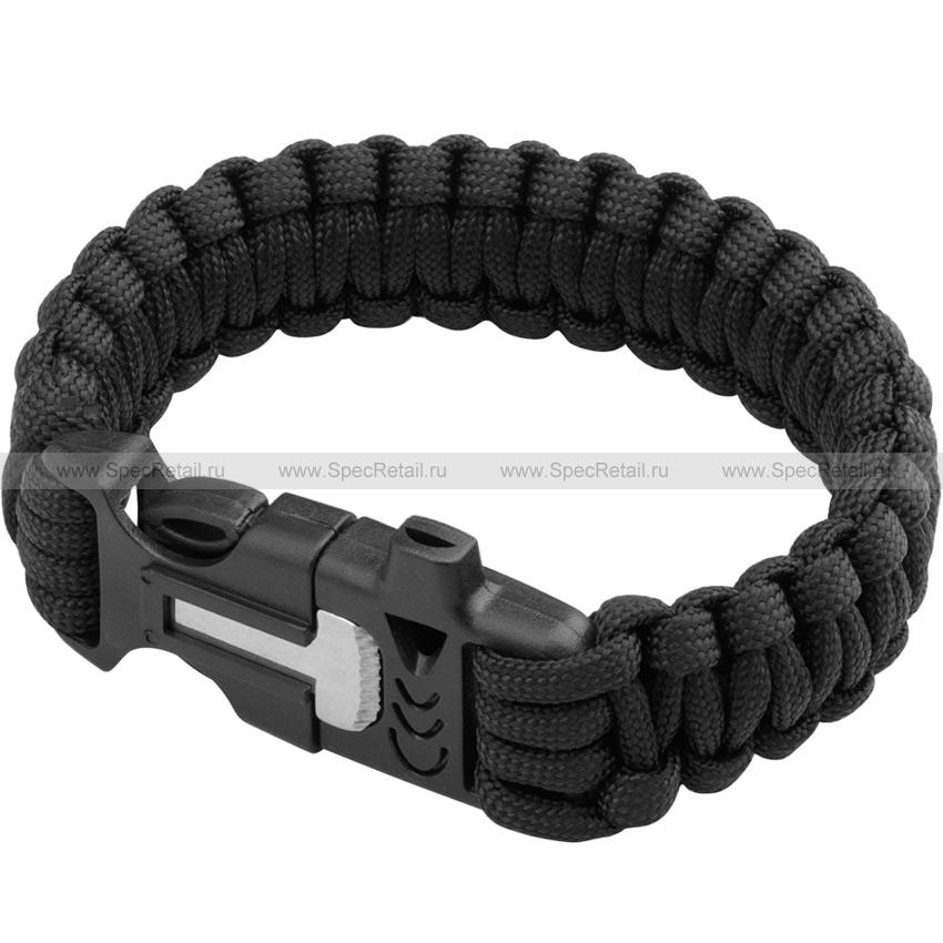 Паракордовый браслет (свисток, огниво) (Black)