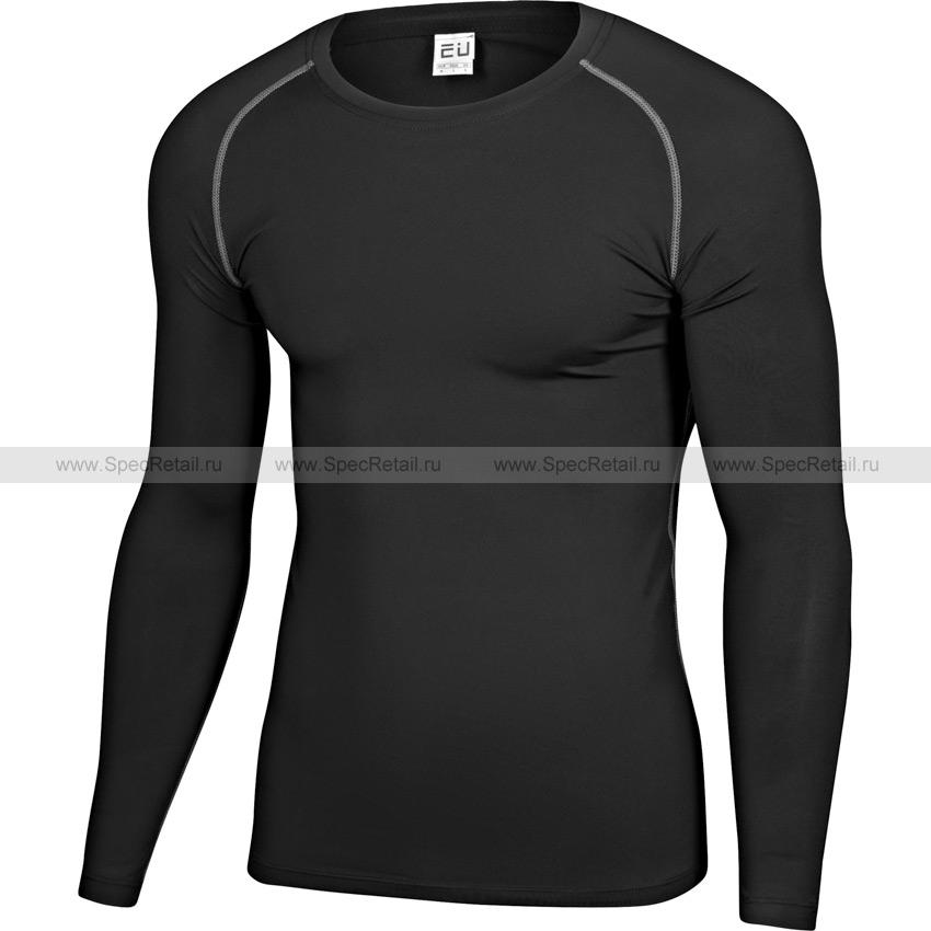 Футболка с длинными рукавами, облегающая (Black)