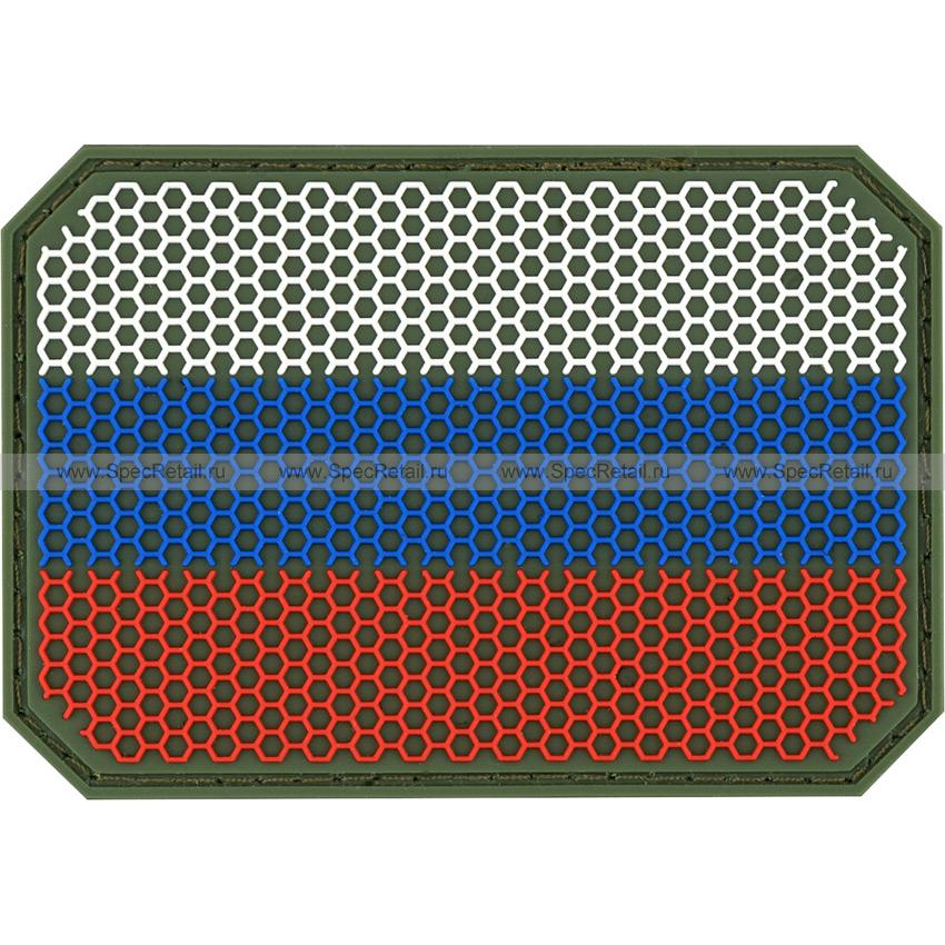 """Шеврон ПВХ """"Флаг РФ"""", гекс, олива, 7.5x5.2 см"""