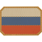 """Шеврон ПВХ """"Флаг РФ"""", гекс, тан, 7.5x5.2 см"""