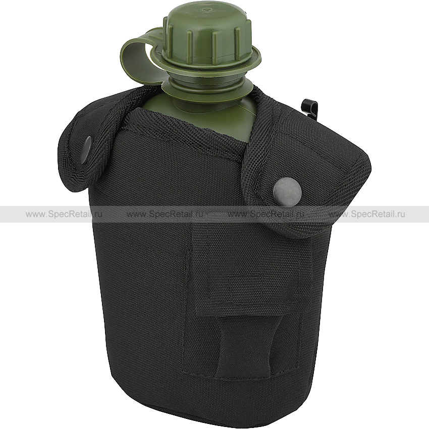 Питьевая фляга с чехлом, 1 литр (Tactical PRO) (Black)