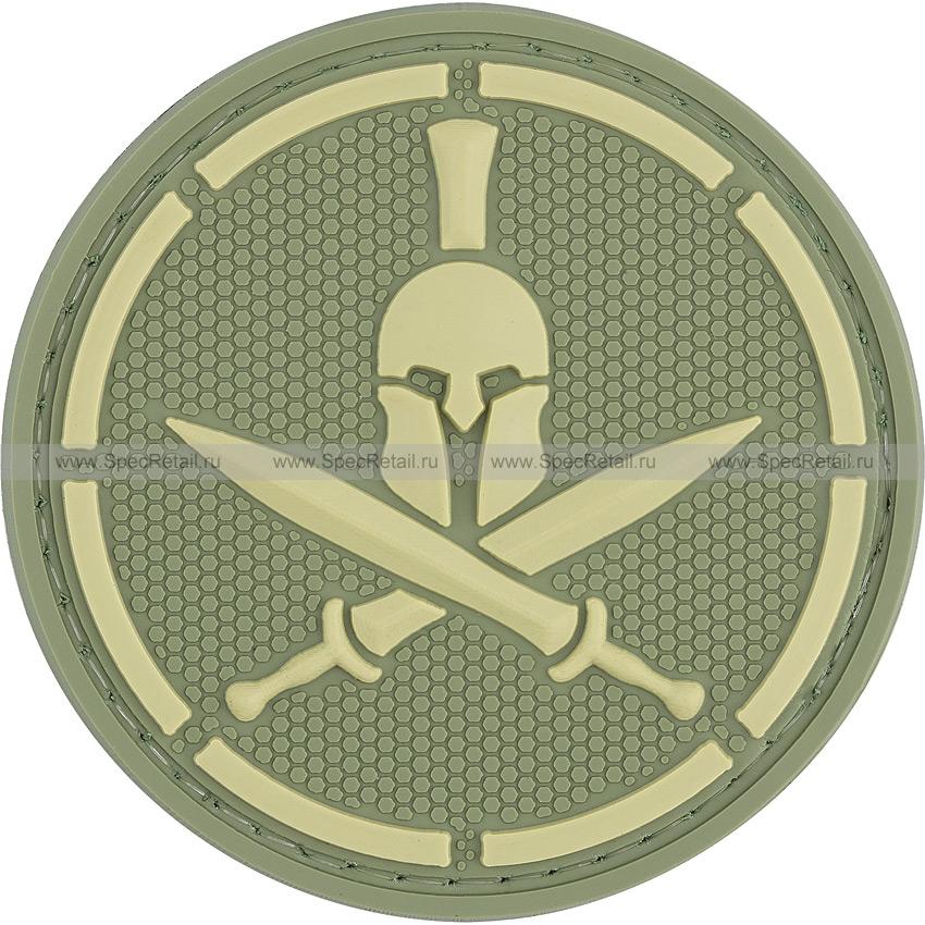 """Шеврон ПВХ """"Спартанец"""", олива, диаметр 6 см"""