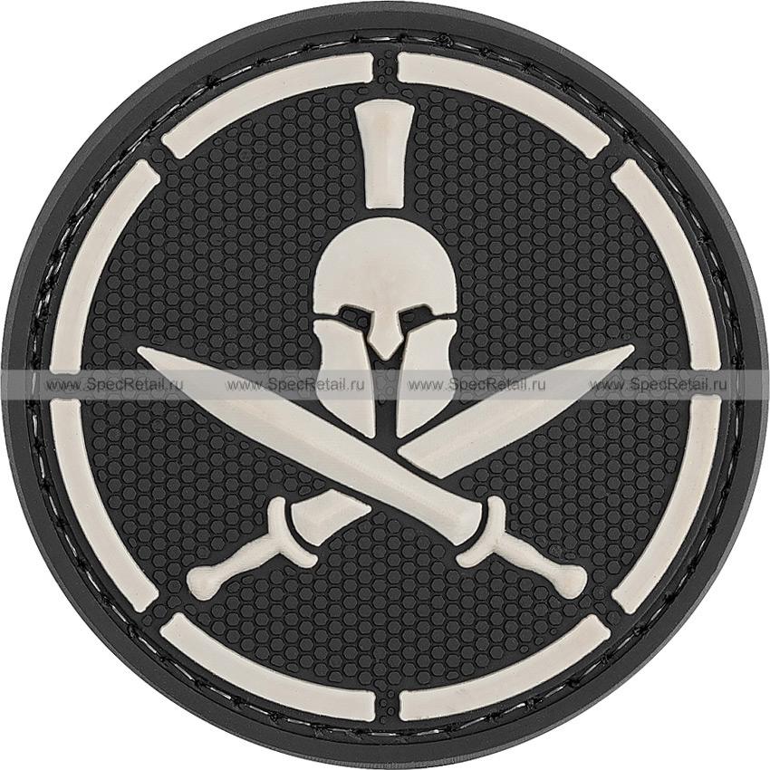 "Шеврон ПВХ ""Спартанец"", черный, диаметр 6 см"