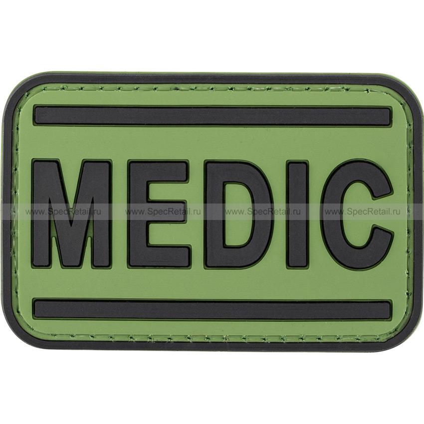 """Шеврон ПВХ """"Medic"""", олива, 6.9x4.5 см"""