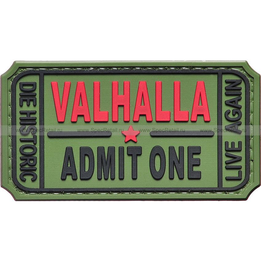 """Шеврон ПВХ """"Valhalla. Admit One"""", олива, 7.5x4 см"""