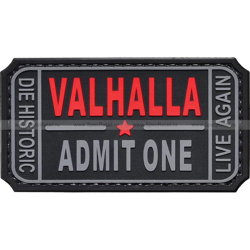 "Шеврон ПВХ ""Valhalla. Admit One"", черный, 7.5x4 см"