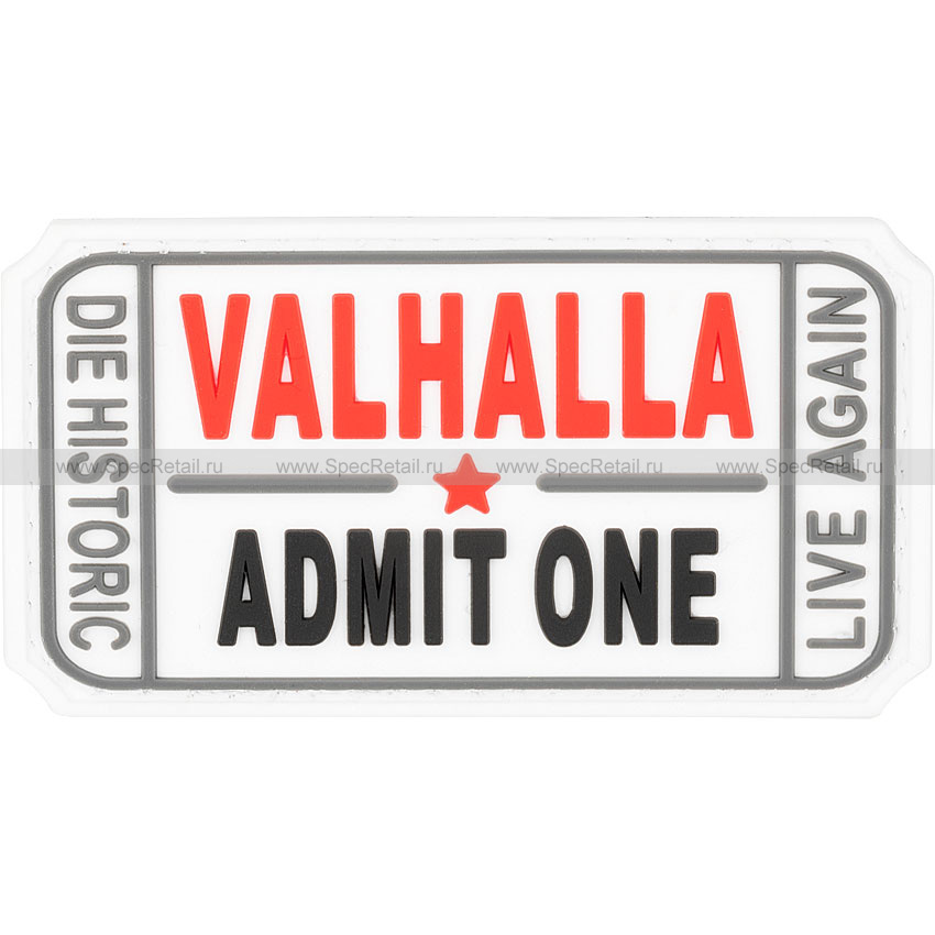 "Шеврон ПВХ ""Valhalla. Admit One"", белый, 7.5x4 см"