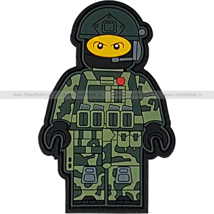 """Шеврон ПВХ """"Лего воин"""", олива, 5.5x8.5 см"""