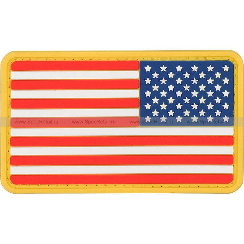 """Шеврон ПВХ """"Флаг США"""", зеркальный, 8.6x5 см"""