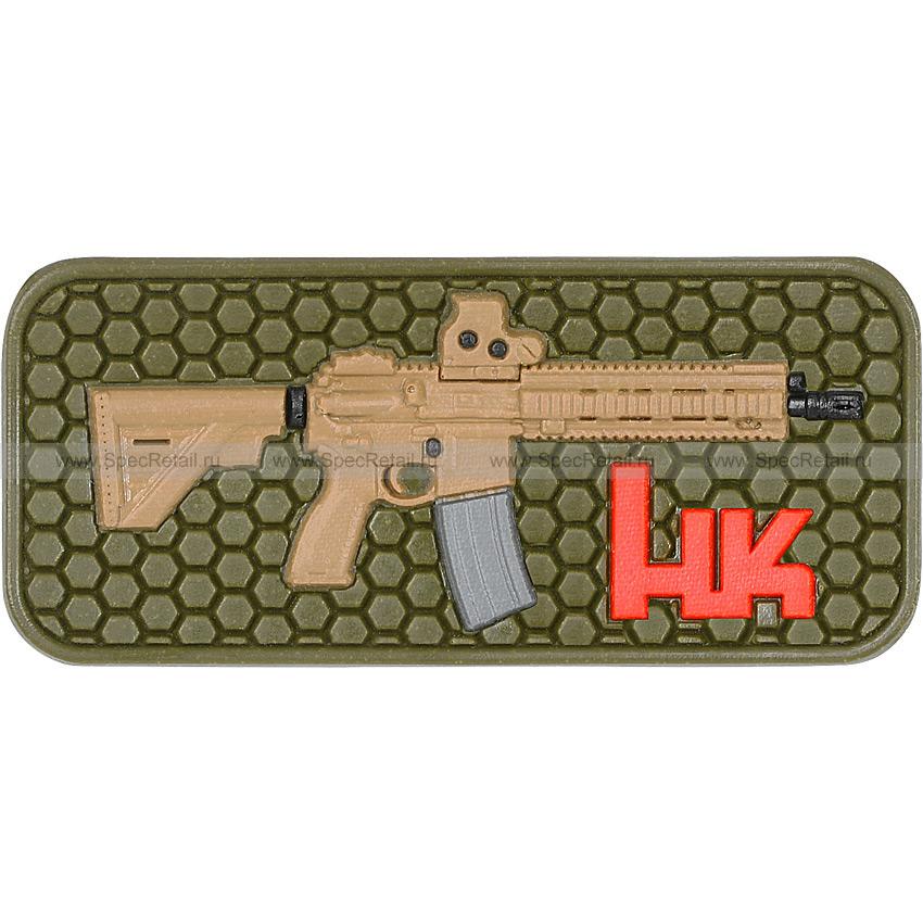 """Шеврон ПВХ """"HK416"""", гекс, олива, 6.3x2.7 см"""