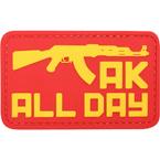 """Шеврон ПВХ """"AK all day"""", красный, 7.4x4.5 см"""