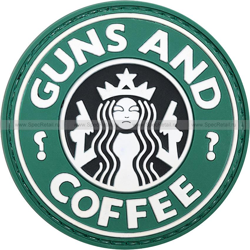 """Шеврон ПВХ """"Guns and coffee"""", олива, диаметр 5.9 см"""