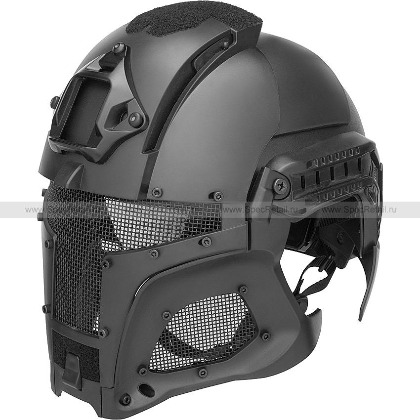"""Шлем """"Iron Warrior"""" с маской и забралом (Black)"""