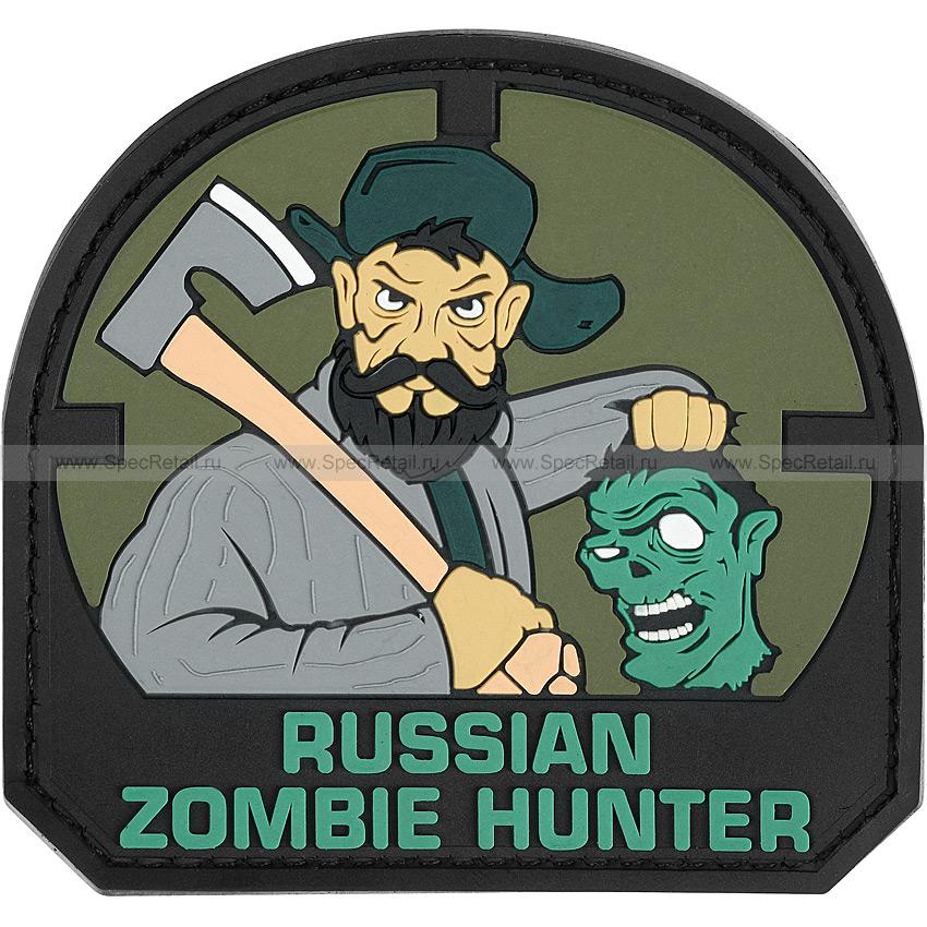 """Шеврон ПВХ """"Russian Zombie Hunter"""", олива, 7.9x7.4 см"""