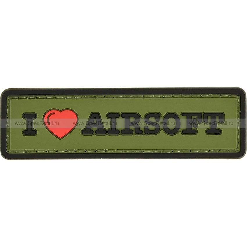 "Шеврон ПВХ ""I Love Airsoft"", олива, 8.4x2.4 см"