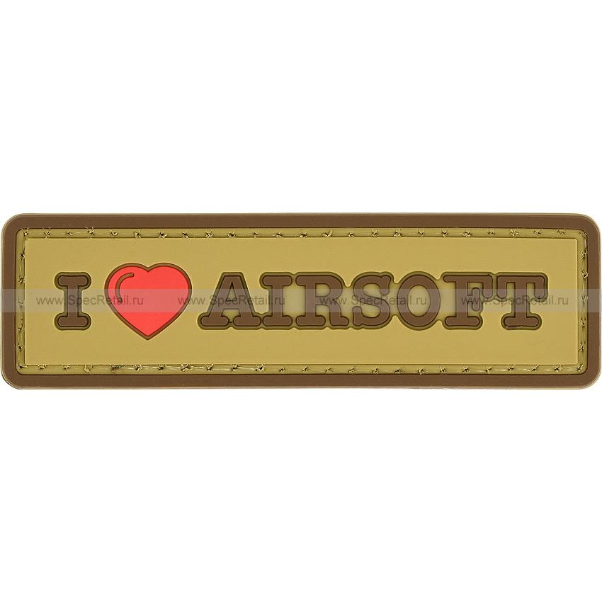 "Шеврон ПВХ ""I Love Airsoft"", тан, 8.4x2.4 см"