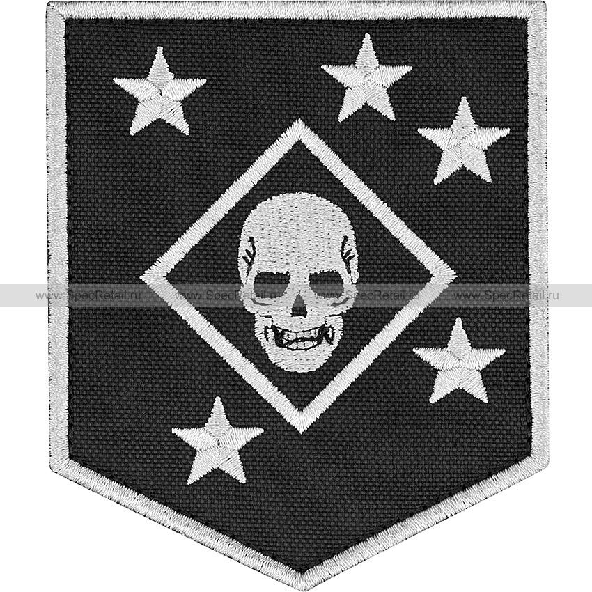"""Шеврон текстильный """"MARSOC Marine Raiders"""", черный, 8.4x9.9 см"""