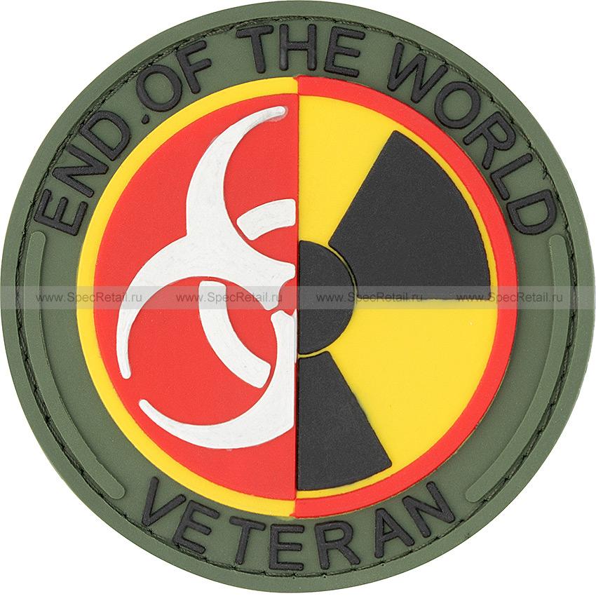 "Шеврон ПВХ ""End of the world veteran"", олива, диаметр 7.3 см"