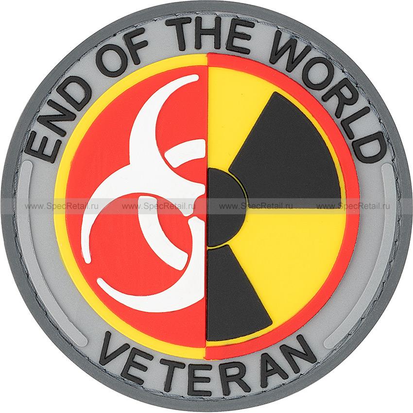 """Шеврон ПВХ """"End of the world veteran"""", серый, диаметр 7.3 см"""