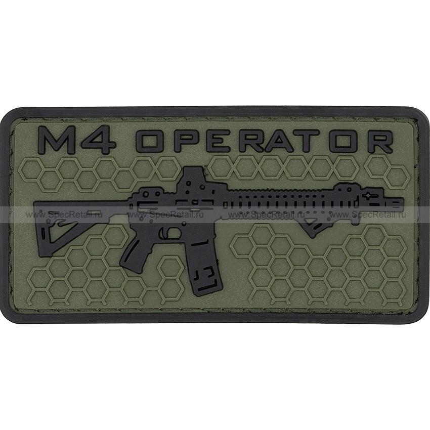 "Шеврон ПВХ ""M4 operator"", гекс, олива, 8.2x4.2 см"