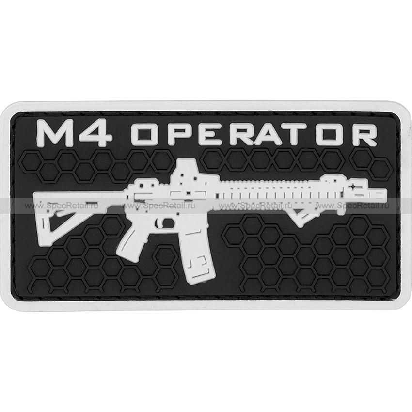 """Шеврон ПВХ """"M4 operator"""", гекс, черный, 8.2x4.2 см"""
