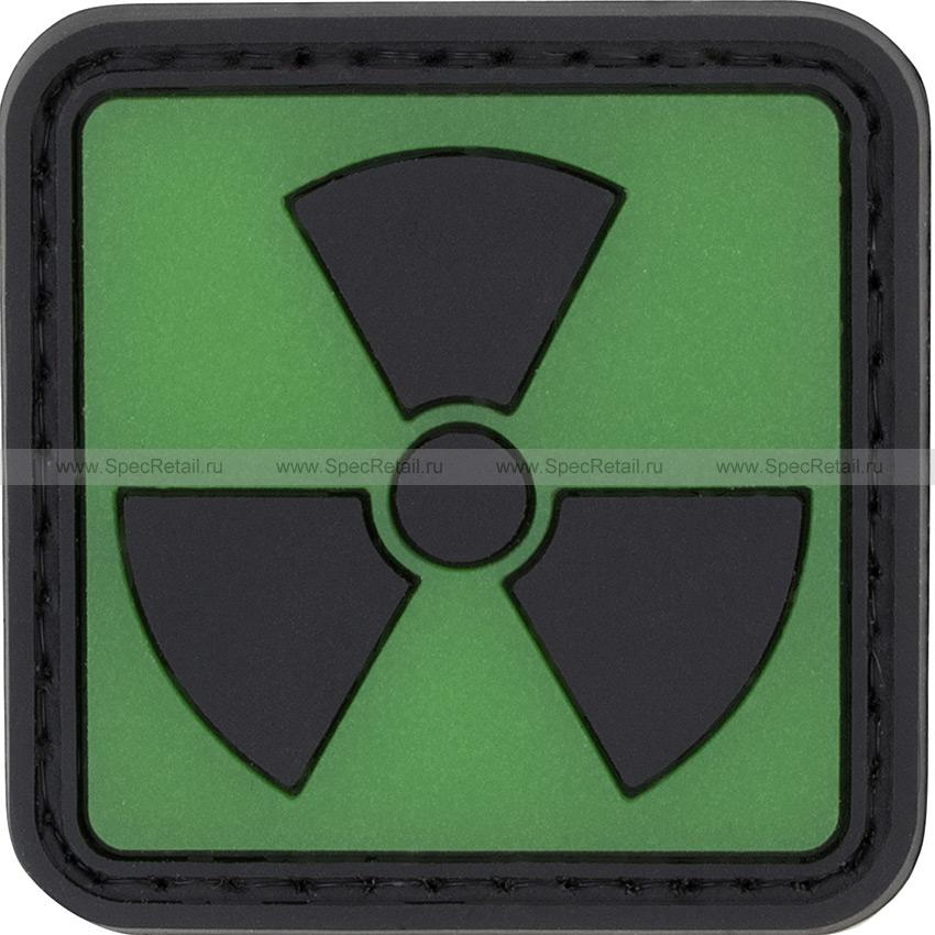 """Шеврон ПВХ """"Радиация"""", зеленый, 4.3x4.3 см"""